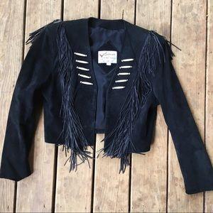 Vintage boho suede jacket - fringe blazer